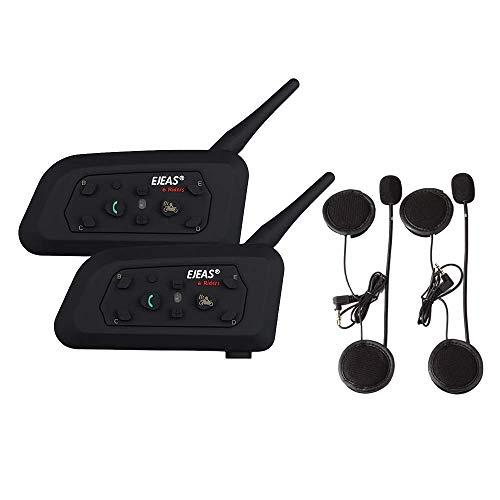 OKEU V6 Pro 1200 Meter Vollduplex Bluetooth Intercom Motorrad Helm Headset Intercom, wasserdichtes winddichtes Headset, für Radfahren, Skifahren, Bergsteigen,Konzert (2P) -