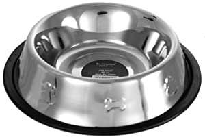 Stainless Steel Buckingham Dog Bowl with Paw Motif