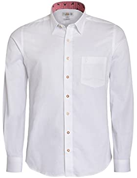 Almsach Trachtenhemd Regular Fit Zweifarbig in Weiß und Rot