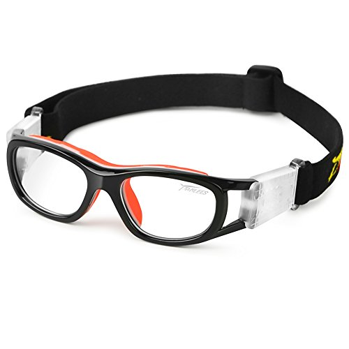 fussball sportbrille Pellor Sportbrille, Erwachsene Kinder Brille Running Brille Arbeitsschutz verstellbar für Sonnenbrille Fußball Fotografie von Basketball Tennis (Kinder Sportbrille)