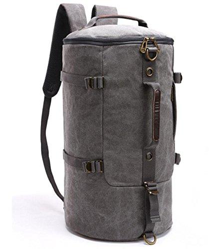 &ZHOU Borsa di tela, Zaino grande capacità secchio borsa canna pacchetti zaino viaggio sacchetti di alpinismo, computer borse borsa Messenger borsa uomini e donne , black gray