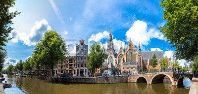 """Alu-Dibond-Bild 130 x 60 cm: """"Oude Kerk (Old Church) in Amsterdam"""", Bild auf Alu-Dibond"""