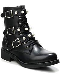 42d8954286a348 HERIXO Damen Schuhe Stiefeletten Schnallen Verzierung Perlen  Reissverschluss Flache…