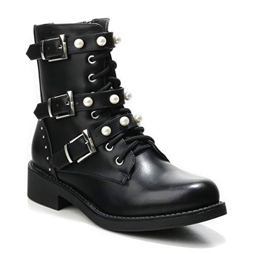 HERIXO Damen Schuhe Stiefeletten Schnallen Verzierung Perlen Nieten Flache Reissverschluss halbhoche Schnürboots Schnürer Military Boots (39 EU, D-Schwarz)