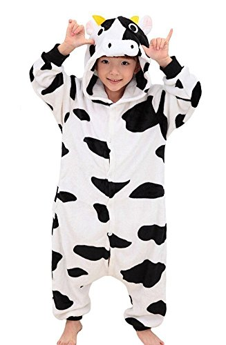 Kinder Kostüm Onesies Pyjamas Weihnachten Halloween Party Cosplay Kostüm Lazy Warm Sleepwear Gr. M ( 124 cm- 137 cm), kuh