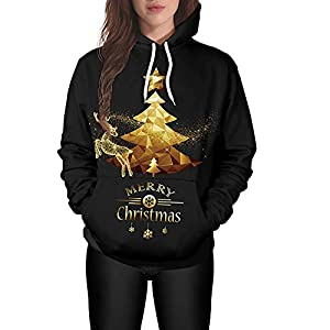 MIRRAY Damen Weihnachten Pullover Tree Elk Print Lange Ärmel Caps Oberteile Sweatshirts Schwarz M L XL 2XL