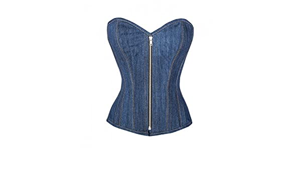 09c478fe1af Blue Denim Zipper Goth Steampunk Bustier Waist Training Overbust Corset  Costume  Amazon.co.uk  Clothing