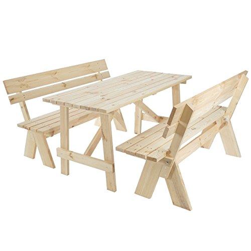 Mendler Garniture de Jardin Oslo, Table + bancs en Bois Massif, qualité de Brasserie, 148 cm ~ Nature