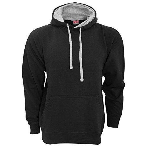 FDM Unisex Kapuzenpullover / Kapuzensweater mit kontrastfarbener Kapuze Black/Heather Grey