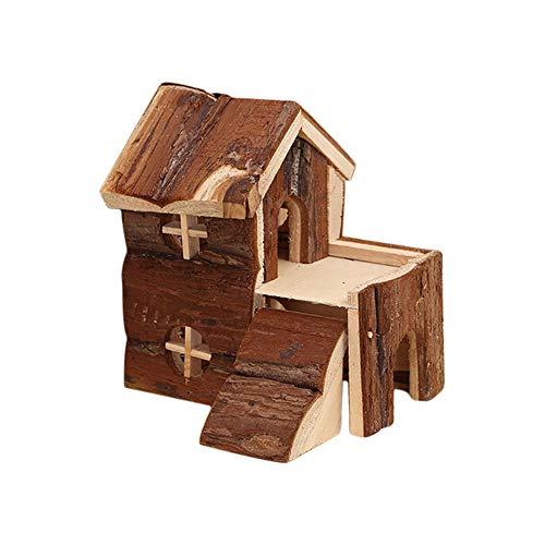Toruiwa 1X Hamster Nest Retro Holz Haus Villa Blockhaus mit Brücke Haustier Spielzeug Kleine Tier Käfig Zubehör für Hamster Nager Mäuse Spielzeug 15 * 14 * 15cm Braun (Tier Käfig Klein)