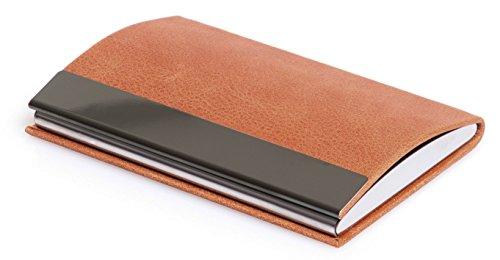 Elegantes Visitenkartenetui - POLIVA Kreditkartenetui aus hochwertigem Leder - mit Magnetverschluss & Kartenhalter für 10 Karten