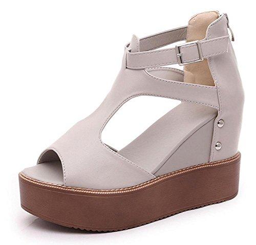 sandales tête de poisson printemps et en été la pente avec une croûte épaisse chaussures imperméables chaussures plate-forme creuse dames chaussures à talons hauts Grey