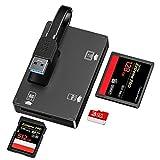 USB 3.0 Kartenleser, 3 in 1 SD Kartenlesegerät für SD/CF/TF Card Reader mit Platz für Speicherkarte zum Ablegen,USB Lesegerät Adapter für SD, CF, Micro SD, SDHC, SDXC, Micro SDHC, Micro SDXC usw