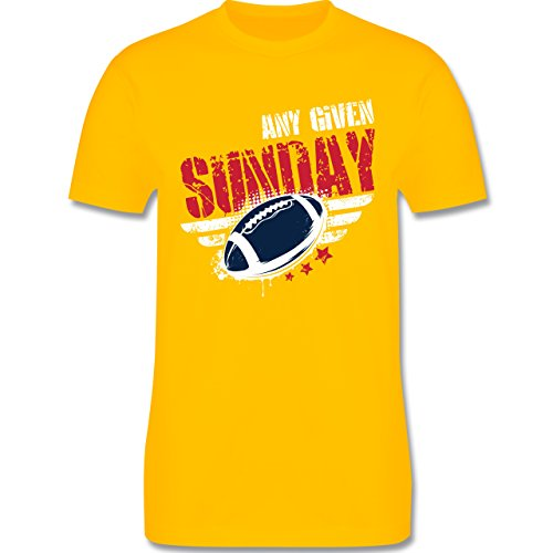 Shirtracer American Football - any Given Sunday Football New England - Herren T-Shirt Rundhals Gelb