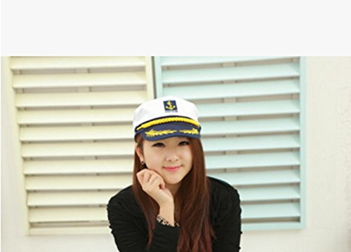 Cheenjo Generic Sailor Captain Hat, Navy Schiff Boot Marien Officer Kostüm Admiral Verstellbare Kappe Fancy Kleid, perfekte Navy Thema Hat, weiß