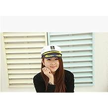Generic marinero Capitán Hat, Azul Marino barco Marien oficial disfraz de Admiral gorra ajustable, color blanco