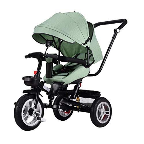 Wgw Kinder Dreirad, Kinder Trike Kinderwagen für Kinder Trike für 1 Jahr Alten Kinderwagen Kinder geführtes Dreirad abnehmbare Baldachin (Farbe: Grün)