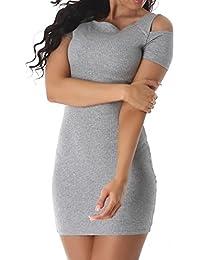 Damen Feinripp Kleid Schulter Kurzarm Party Coctail Abendkleid Elegant sexy Farbe