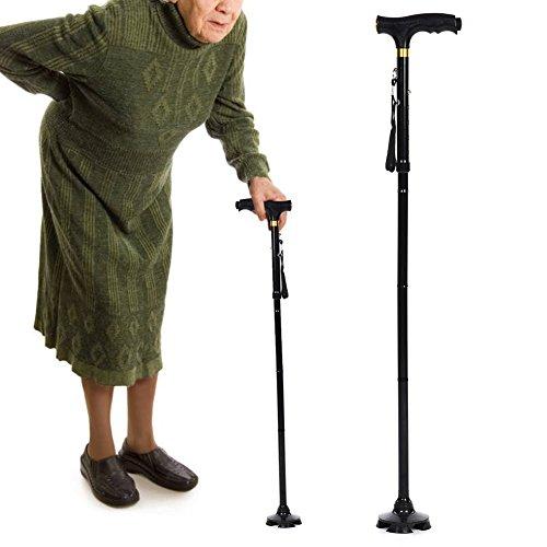 Yotown magic cane, bastone da passeggio, regolabile in altezza bastone da arrampicata con canna leggera in lega di alluminio, per uomo anziano e donne (nero)
