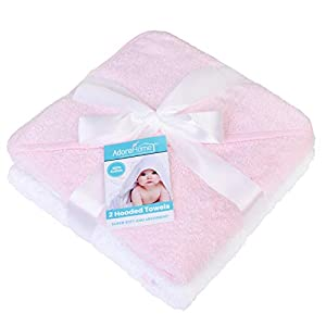 Hooded Baby Towel Pack of 2 Soft 100% Cotton Bath Wrap, Pink & White