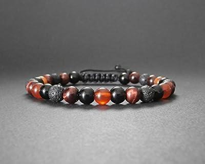 Bracelet homme pierres œil de taureau, cornaline, onyx et pierre de lave