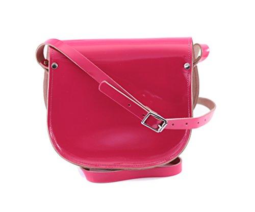 Vera pelle Saddle Croce borsa corpo con fibbia di chiusura e tracolla regolabile. Disponibile in vari colori. Patent rosa