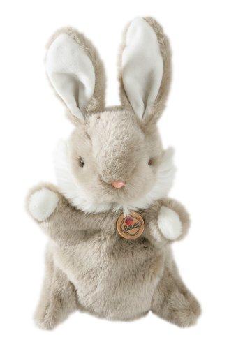 """Bauer Spielwaren \""""Theatrello\"""" Handpuppe Hase:Kuschelweiche Stoff-Puppe aus softem Plüsch, helles Grau-Beige,für Puppentheater und Lernspiele (11802)"""