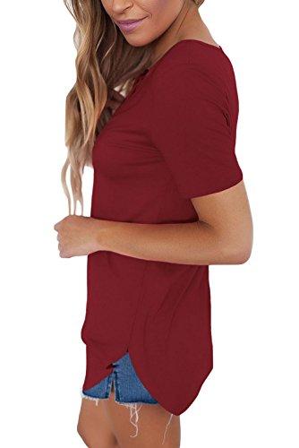 Lukis Damen Longshirt V Ausschnitt Lace Up Bluse Minikleider Tunika Weinrot