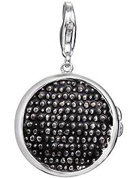 Esprit Damen-Charm 925 Sterling Silber rhodiniert Stoff Medaillon Black Xl S.ESCH91254A000