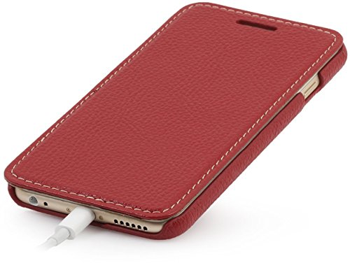 StilGut Book Type Case, custodia in vera pelle a libro con apertura laterale per Apple iPhone 6s (4.7), Rosso Vinaccia Rosso