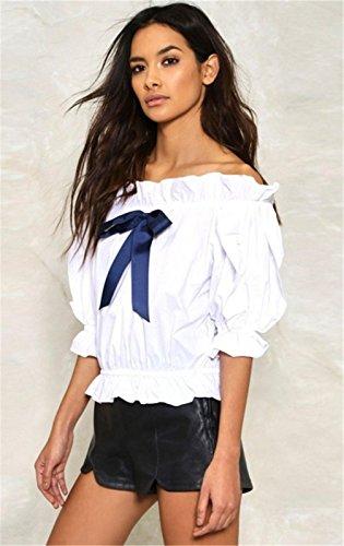 Sexy Schulterfrei Kalte Schulter Freien Offenen Schultern Rüschensaum Boden Ärmel Bowknot Vorne Kurze Crop Bluse Hemd Shirt Oberteil Top Weiß Weiß