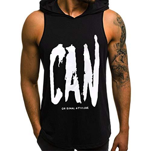 MNRIUOCII Tankshirt Herren Casual Hoodie Tank Tops ÄRmellose Hemden Gym Workout MäNner Slim Brief Gedruckt TräGershirt Mit Kapuze Tank Top T-Shirt Top Bluse - Herren-shirts, Gewebten Hemden
