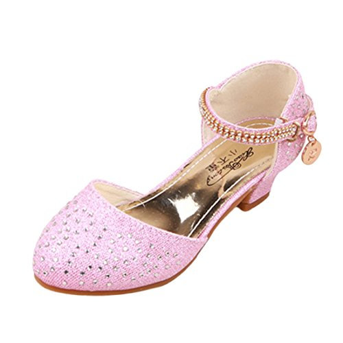O&N Kinder Prinzessin Gelee Partei Absatz-Schuhe Sandalette Stöckelschuhe mit Künstliche Diamond