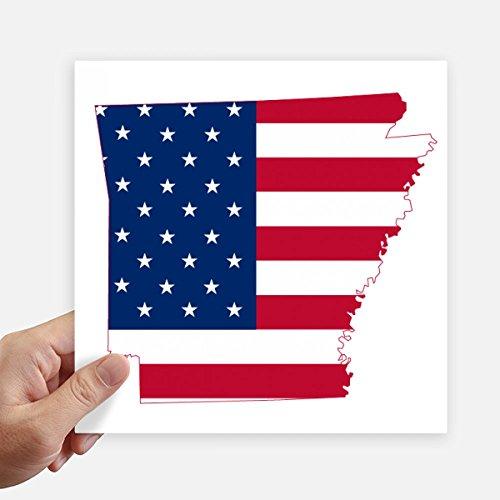 DIYthinker Arkansas Amerika Karte Stars and Stripes-Flagge Form Quadrat Aufkleber 20Cm Wand Koffer Laptop Motobike Aufkleber 4Pcs 20Cm X 20Cm Mehrfarbig -