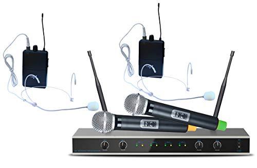E-Lektron IU-4011MH digital UHF Funkmiktrofon System mit 2x Hand-Mikrofon + 2x Headset-Mikrofon drahtlos Set