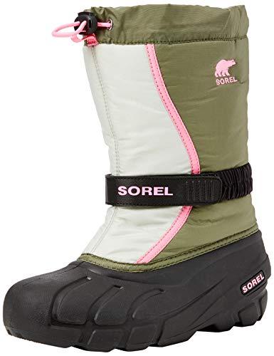 Sorel Kinder Youth Flurry Stiefel, grün (hiker green)/pink (bubblegum), Größe: 37