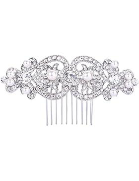 FANZE Damen Pave Österreichen Kristall Künstliche Perlen Romantik Doppel Herz Hochzeit Braut Haarkamm Haarschmuck