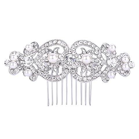 FANZE Femme Bijou Intemporel Cristal Perle Artificielle Romantique Mariage Cheveux Peigne Comb Claire
