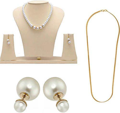Fashion Jewels Exclusive Golden White Stylish Designer Gold Plated Necklace Set & Plain Chain Simple chain for Girls, Women, Ladies with Dazzling White Moti Golden Ethnic Traditional Jhumka/Jhumki Dangle Stud Earrings New Party Wear Fancy Special Fashion Wedding Collection Accessories Design at Low Price Cost Great for Jewellery Gift for Girlfriend & Sister …  available at amazon for Rs.198