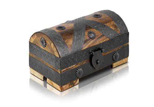 Brynnberg scrigno del tesoro vintage bauletto stile antico per accessori gioielli oggetti di valore, cassaforte in legno, idea regalo decorativa 20x11x11cm