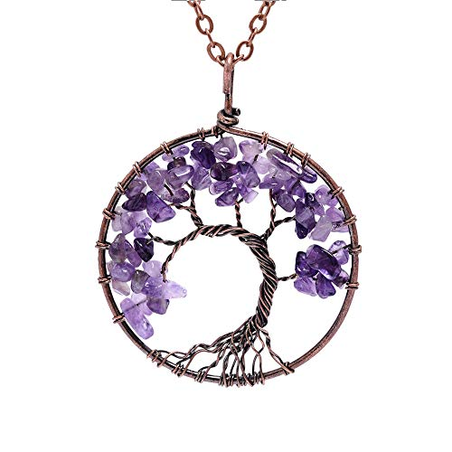 Lv.unique Necklace Tree of Life Pendant Necklace Copper Chakra Gemstone Amethyst Necklace Pendant Adjustable Long Chain Necklace for girls (Brass + Purple Stone)