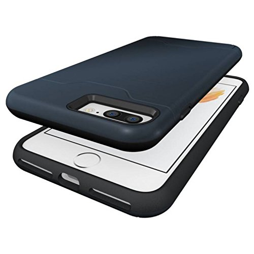Cover iPhone 7 Plus,Gray Plaid Design [Slim Fit ] Rugged Dual Layer Protective Bumper Case with Card Holder Wallet Case per iPhone 7 Plus(5.5 inch) - Blu Blu