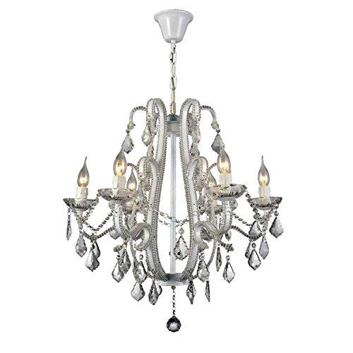 Maniny American Crystal Kronleuchter Eisen Kunst Living Zimmer Lampe European Kerze Kristalle Lampe Kristall Pendelleuchten schwarz weiß, 10 Head Chandelier -