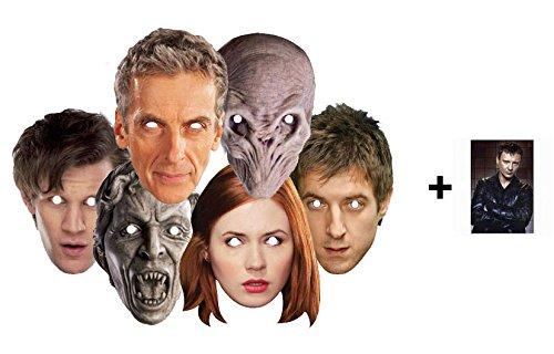 Doctor Who Party Karte Partei Gesichtsmasken (Maske) Packung von 6 (11th Dr Who Matt Smith, 12th Doctor Peter Capaldi, Amy Pond, Rory, Silent, Weeping Angel und Cyberman)