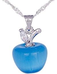 Smile YKK Bijoux Femme en Forme Pomme Bleu Cristal Collier Pendentif Plaqué Argent 925