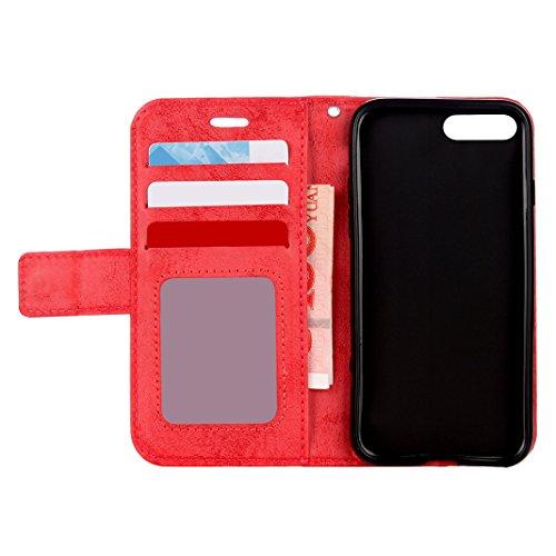 iPhone 7 / iPhone 7s Cover Case HuaForCity® Portafogli Custodia in Pelle PU Copertina con Slot per schede Magnetica Flip Chiusura Stile del Libro Supporto Funzione Bumper Caso for iphone 6 A-Red