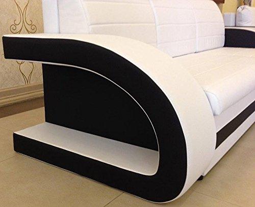 muebles bonitos sof cama hilda con chaise longue universal negro con blanco - Muebles Bonitos