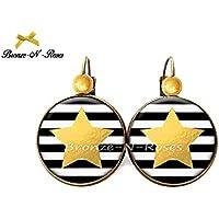 Boucles d'oreilles étoiles jaunes et rayures noires cabochon bronze dormeuses cadeau Noêl