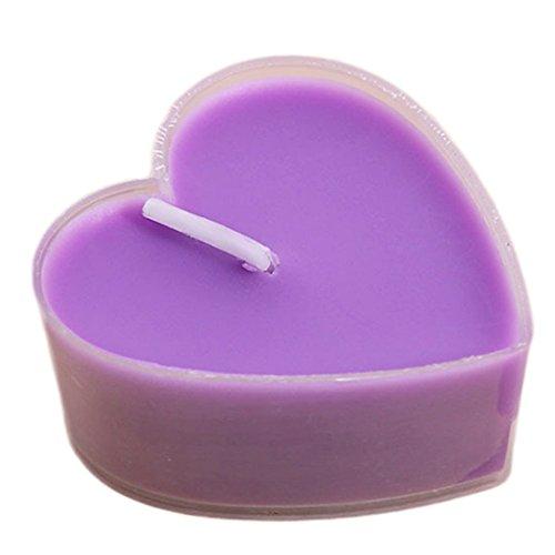 Leisial 9 Stück Herz Teelicht Set Kreative Kerze Romantisches Kerze Rauchfrei Teelicht für Geburtstag,Vorschlag,Hochzeit,Party,Lila