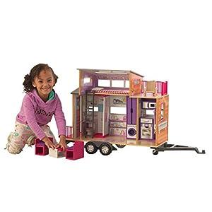 KidKraft 65948 Casa de muñecas de madera Teeny House para muñecas de 30cm con 10 accesorios incluidos y 2 niveles de juego